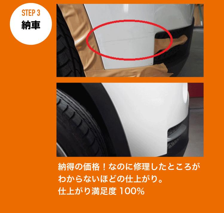 STEP3.納車。納得の価格!なのに修理したところがわからないほどの仕上がり。仕上がり満足度100%!